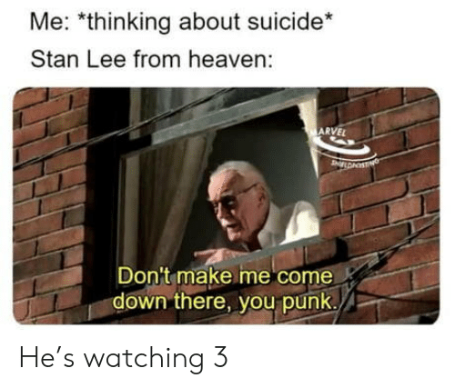 Heaven, Stan, and Stan Lee: Me: *thinking about suicide*  Stan Lee from heaven:  ARVEL  Don't make me come  down there, you punk./ He's watching 3