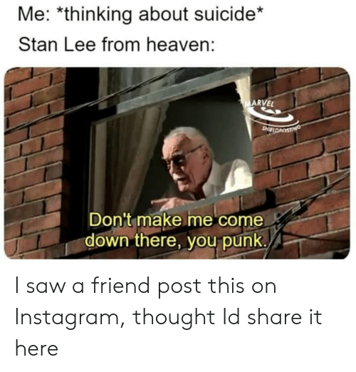 Heaven, Instagram, and Saw: Me: *thinking about suicide*  Stan Lee from heaven:  ARVEL  Don't make me come  down there, you punk. I saw a friend post this on Instagram, thought Id share it here