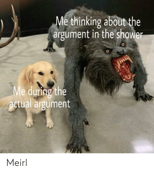 Showe: Me thinking aboutthe  argument in the showe  8  e during the  ctual argumert  Me  2  2 Meirl