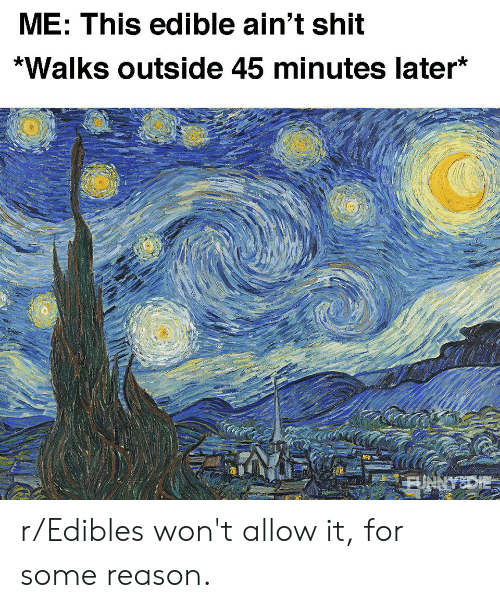 Funny, Shit, and Reason: ME: This edible ain't shit  *Walks outside 45 minutes later* r/Edibles won't allow it, for some reason.