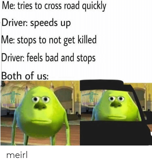 Feels Bad: Me: tries to cross road quickly  Driver: speeds up  Me: stops to not get killed  Driver: feels bad and stops  Both of us: meirl