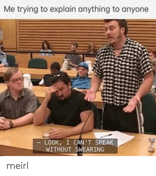 Me Trying To Explain: Me trying to explain anything to anyone  LOOK, I CAN'T SPEAK  WITHOUT SWEARING meirl