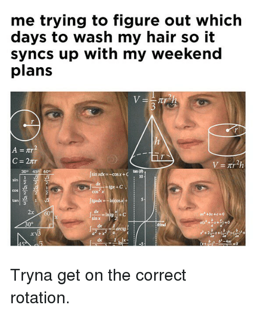 My Weekend: me trying to figure out which  days to wash my hair so it  syncs up with my weekend  plans  3  C=2tr  300 45 60°  Jsai  sin xdx -cosx +C  10  cos χ  tan  2x60  dx  30°  Bad  a +  b b-4ac Tryna get on the correct rotation.