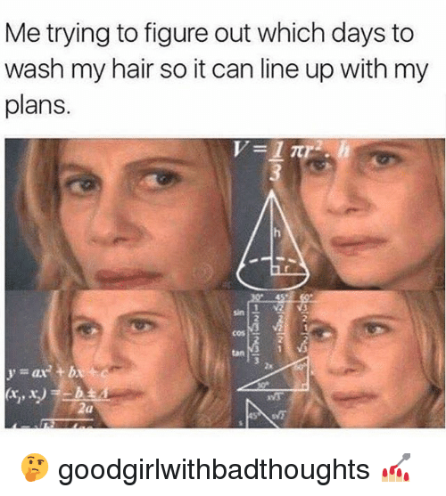 Memes, Hair, and 🤖: Me trying to figure out which days to  wash my hair so it can line up with my  plans.  sin  2  2  cos  tan  3  2x  y=ax2 + bx 🤔 goodgirlwithbadthoughts 💅🏼