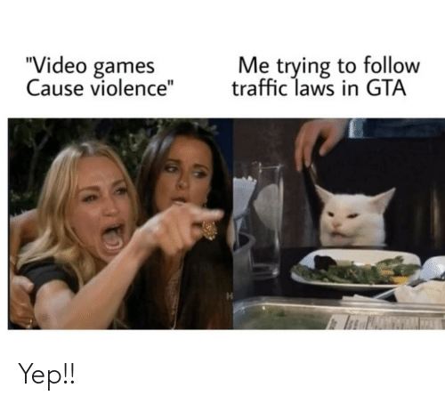 """Traffic: Me trying to follow  traffic laws in GTA  """"Video games  Cause violence"""" Yep!!"""