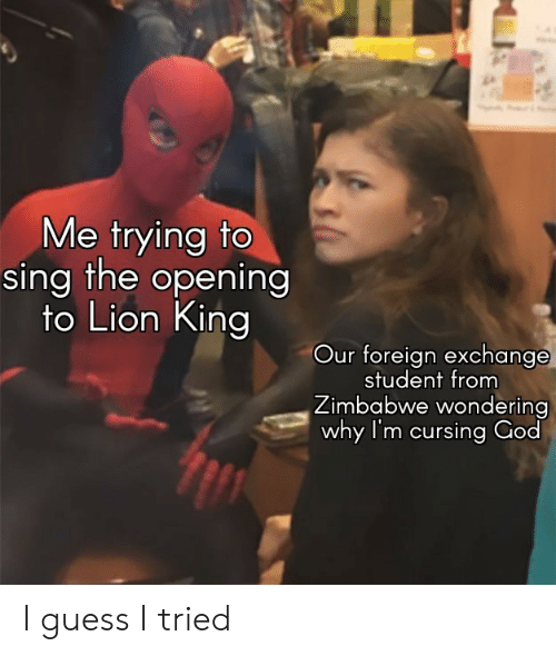 Lion King: Me trying to  sing the opening  to Lion King  Our foreign exchange  student from  Zimbabwe wondering  why I'm cursing God I guess I tried