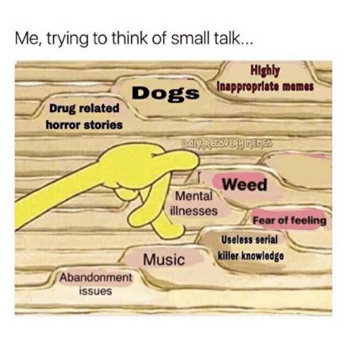 Inappropriate Memes: Me, trying to think of small talk...  Highly  Inappropriate memes  DogS  Drug related  horror stories  Weed  ее  Mental  illnesses  Fear of feeling  Useless serial  Musickiller knowledge  Abandonment  issues