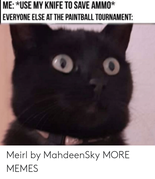Tournament: ME: *USE MY KNIFE TO SAVE AMMO*  EVERYONE ELSE ATTHE PAINTBALL TOURNAMENT: Meirl by MahdeenSky MORE MEMES