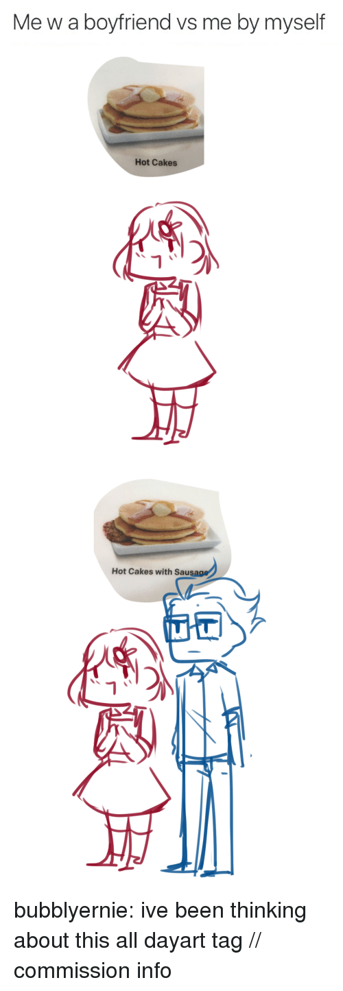 Target, Tumblr, and Blog: Me w a boyfriend vs me by myself   Hot Cakes  i补   Hot Cakes with Saus  1가 bubblyernie:  ive been thinking about this all dayart tag // commission info