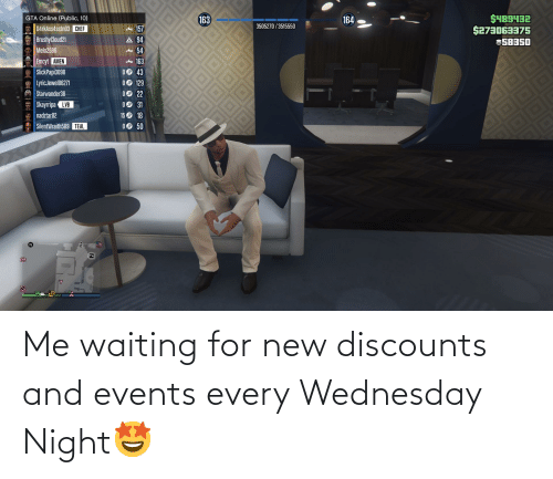 Wednesday: Me waiting for new discounts and events every Wednesday Night🤩