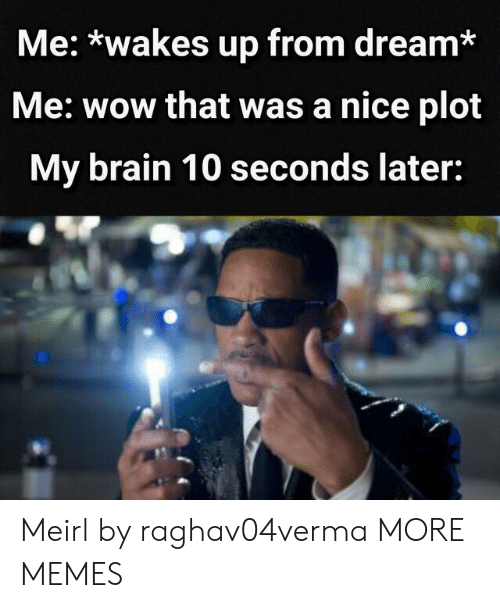 Dank, Memes, and Target: Me: *wakes up from dream*  Me: wow that was a nice plot  My brain 10 seconds later: Meirl by raghav04verma MORE MEMES
