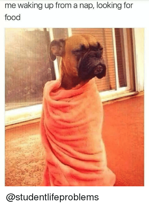 Waking Up From A Nap: me waking up from a nap, looking for  food @studentlifeproblems