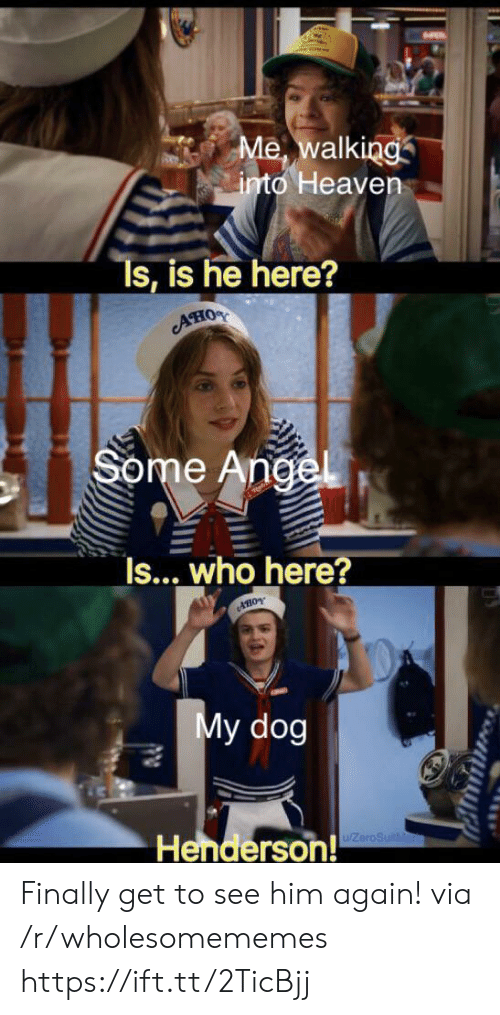 Him Again: Me, walking  into Heaven  Ts, is he here?  AHOS  Some Angel  Is... who here?  AHOY  My dog  Henderson!  ZeroSuitMa Finally get to see him again! via /r/wholesomememes https://ift.tt/2TicBjj