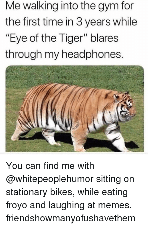 """Gym, Memes, and Eye of the Tiger: Me walking into the gym for  the first time in 3 years while  """"Eye of the Tiger"""" blares  through my headphones You can find me with @whitepeoplehumor sitting on stationary bikes, while eating froyo and laughing at memes. friendshowmanyofushavethem"""
