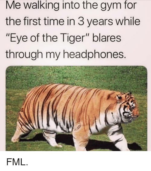 "Fml, Gym, and Memes: Me walking into the gym for  the first time in 3 years while  ""Eye of the Tiger"" blares  through my headphones FML."