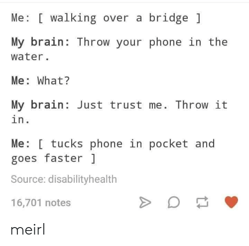 Phone, Brain, and Water: Me [ walking over a bridge  My brain: Throw your phone in the  water.  Me: What?  My brain Just trust me. Throw it  in.  Me: [ tucks phone in pocket and  goes faster  Source: disabilityhealth  16,701 notes meirl
