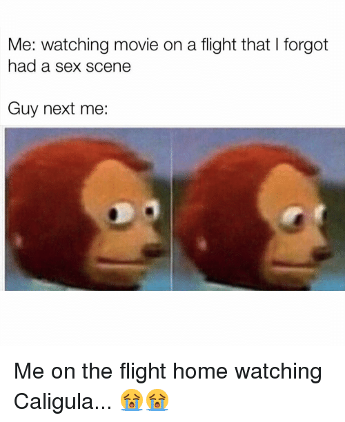 watching movie: Me: watching movie on a flight that I forgot  had a sex scene  Guy next me: Me on the flight home watching Caligula... 😭😭