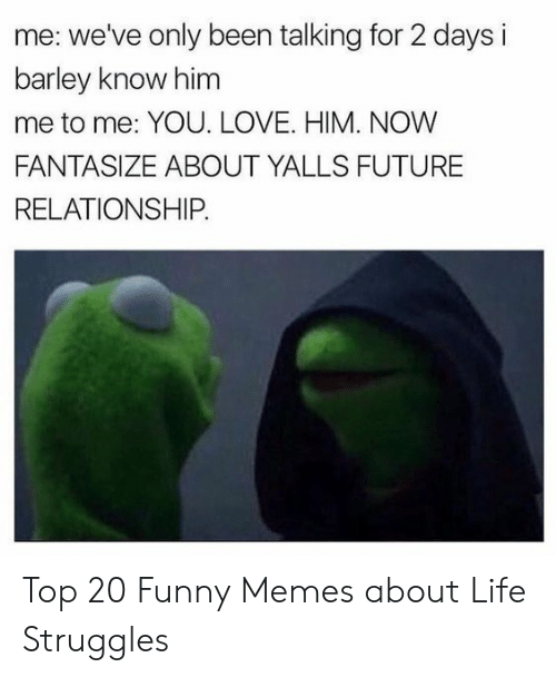Funny Memes About: me: we've only been talking for 2 days i  barley know him  me to me: YOU. LOVE. HIM. NOW  FANTASIZE ABOUT YALLS FUTURE  RELATIONSHIP Top 20 Funny Memes about Life Struggles