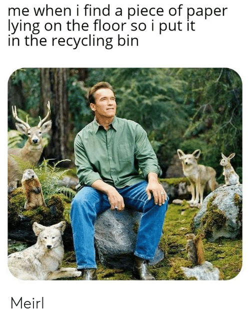 on the floor: me when i find a piece of paper  lying on the floor so i put it  in the recycling bin Meirl