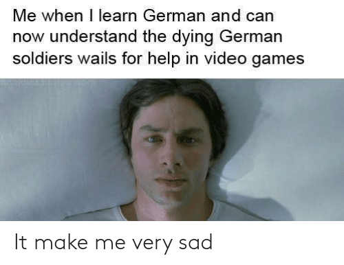 make me: Me when I learn German and can  now understand the dying German  soldiers wails for help in video games It make me very sad