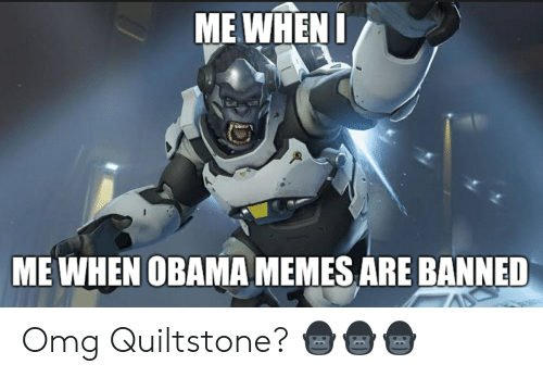 Memes, Obama, and Omg: ME WHEN I  ME WHEN OBAMA MEMES ARE BANNED Omg Quiltstone? 🦍🦍🦍