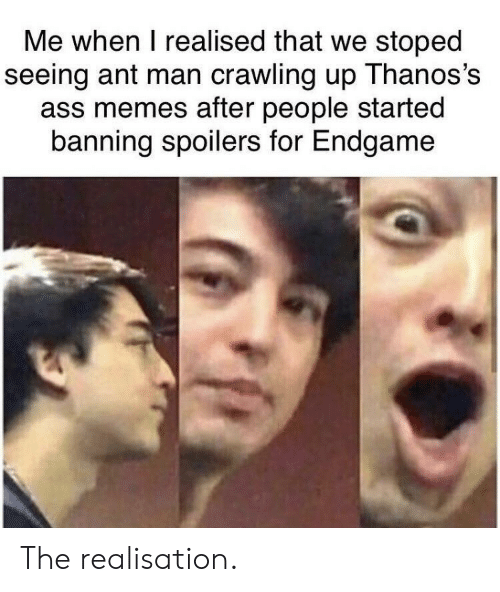 Ass, Memes, and Ant Man: Me when I realised that we stoped  seeing ant man crawling up Thanos's  ass memes after people started  banning spoilers for Endgame The realisation.