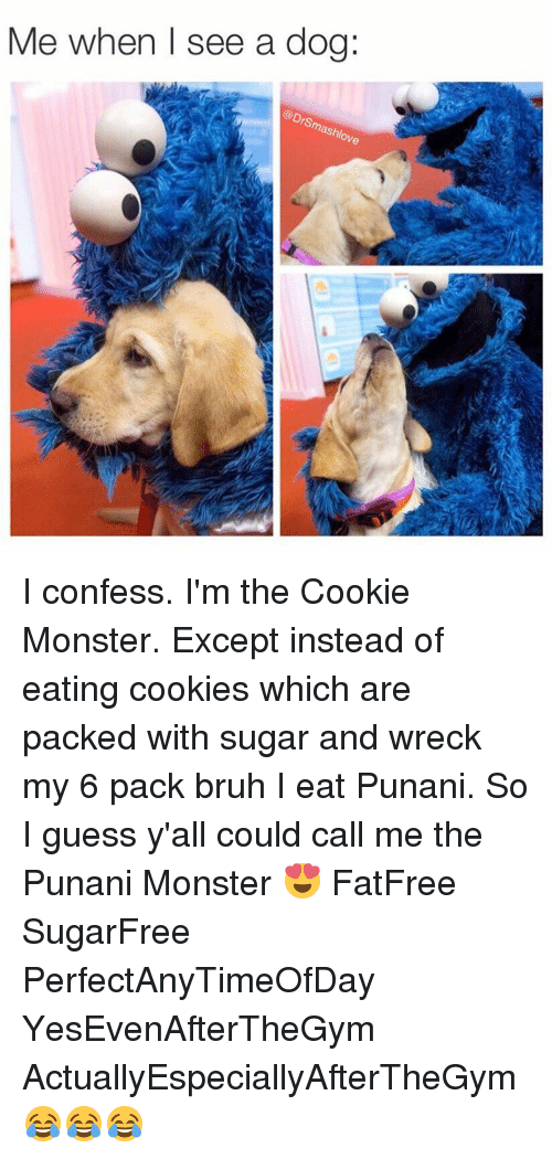 Punany: Me when I see a dog:  mashy  ove I confess. I'm the Cookie Monster. Except instead of eating cookies which are packed with sugar and wreck my 6 pack bruh I eat Punani. So I guess y'all could call me the Punani Monster 😍 FatFree SugarFree PerfectAnyTimeOfDay YesEvenAfterTheGym ActuallyEspeciallyAfterTheGym 😂😂😂