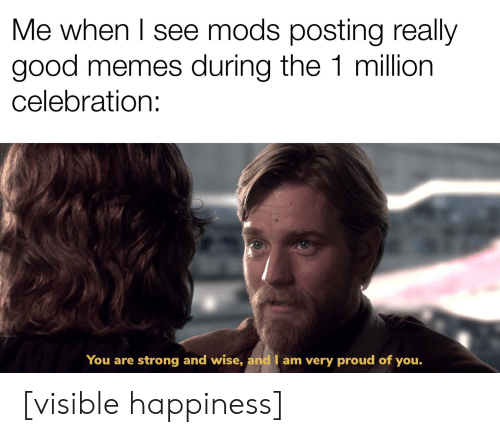 Memes, Good, and Proud: Me when I see mods posting really  good memes during the 1 million  celebration:  You are strong and wise, and I am very proud of you. [visible happiness]