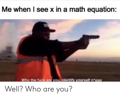 who the fuck: Me when I see x in a math equation:  Who the fuck are you, identify yourself n*gga Well? Who are you?