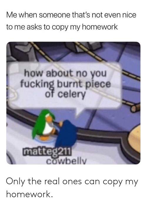 Fucking, The Real, and Homework: Me when someone that's not even nice  to me asks to copy my homework  how about no you  fucking burnt piece  celery  matteg211  COwbelly Only the real ones can copy my homework.