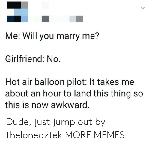 balloon: Me: Will you marry me?  Girlfriend: No.  Hot air balloon pilot: It takes me  about an hour to land this thing so  this is now awkward. Dude, just jump out by theloneaztek MORE MEMES