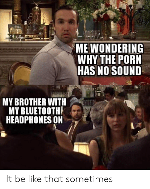 Be Like, Bluetooth, and Headphones: ME WONDERING  WHY THE PORN  HAS NO SOUND  MY BROTHER WITH  MY BLUETOOTH  HEADPHONES ON It be like that sometimes
