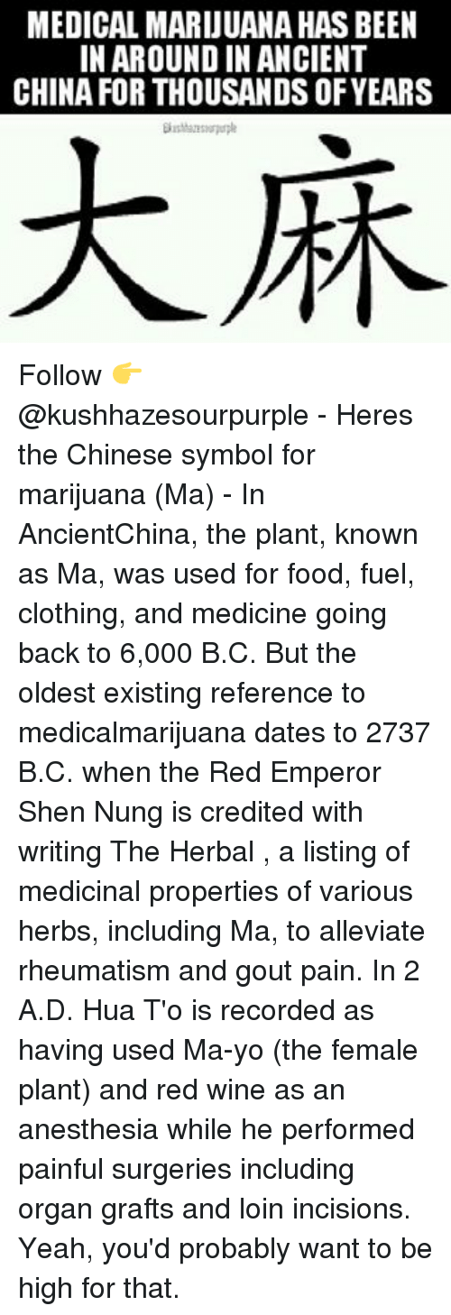 Medical Marijuana Has Been In Around In Ancient China For Thousands