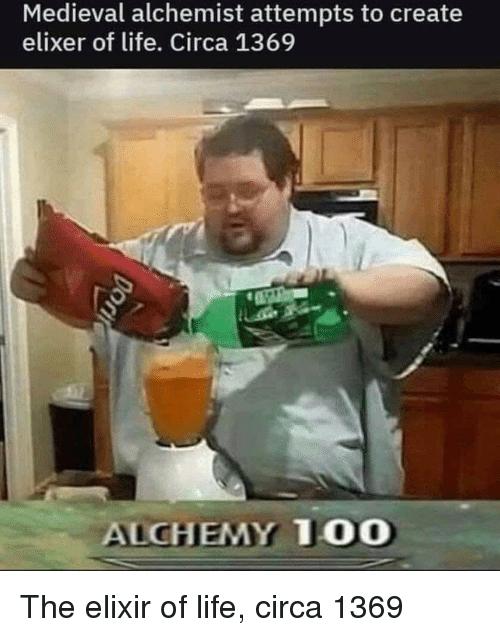 Life, Medieval, and Alchemy: Medieval alchemist attempts to create  elixer of life. Circa 1369  ALCHEMY T00 The elixir of life, circa 1369