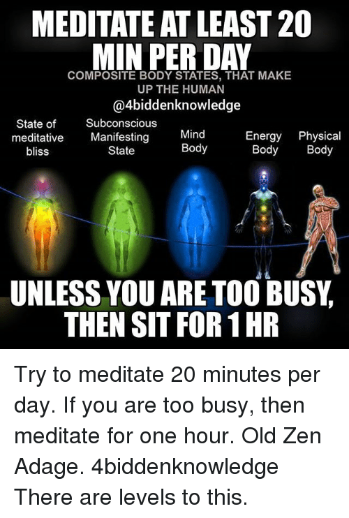 Meditative: MEDITATE AT LEAST20  MIN PER DAY  COMPOSITE BODY STATES, THAT MAKE  UP THE HUMAN  @4biddenknowledge  State of Subconscious  meditative Manifesting  Mind  Body  Energy Physical  Body Body  bliss  State  UNLESS YOU ARE TOO BUSY,  THEN SIT FOR 1 HR Try to meditate 20 minutes per day. If you are too busy, then meditate for one hour. Old Zen Adage. 4biddenknowledge There are levels to this.