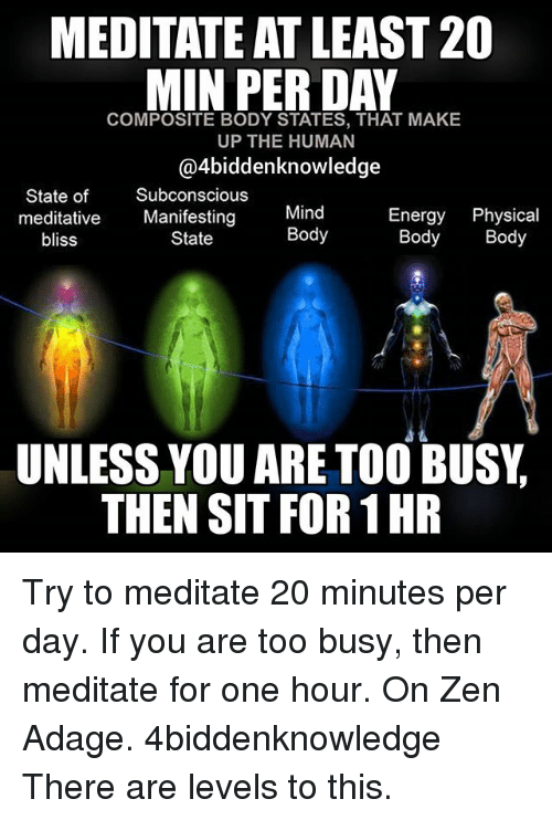 Meditative: MEDITATE ATLEAST 20  MIN PER DAY  COMPOSITE BODY STATES, THAT MAKE  UP THE HUMAN  @4biddenknowledge  State of  Subconscious  Mind  Energy Physical  meditative  Manifesting  Body  Body Body  State  bliss  UNLESS YOU ARE TOO BUSY  THEN SIT FOR 1HR Try to meditate 20 minutes per day. If you are too busy, then meditate for one hour. On Zen Adage. 4biddenknowledge There are levels to this.
