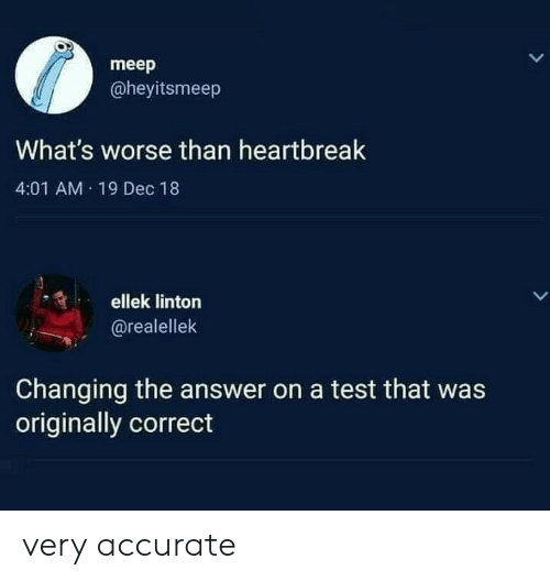 Test, Answer, and Whats: meep  @heyitsmeep  What's worse than heartbreak  4:01 AM 19 Dec 18  ellek linton  LL  @realellek  Changing the answer on a test that was  originally correct very accurate