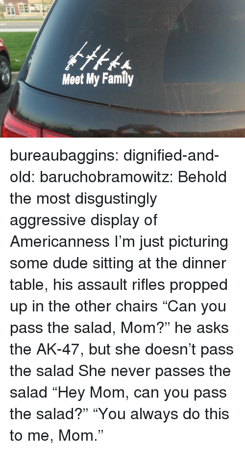 """Assault Rifles: Meet My Family bureaubaggins:  dignified-and-old:  baruchobramowitz:  Behold the most disgustingly aggressive display of Americanness  I'm just picturing some dude sitting at the dinner table, his assault rifles propped up in the other chairs """"Can you pass the salad, Mom?"""" he asks the AK-47, but she doesn't pass the salad She never passes the salad  """"Hey Mom, can you pass the salad?""""      """"You always do this to me, Mom."""""""