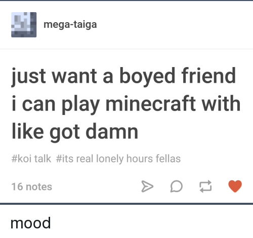 Minecraft, Mood, and Tumblr: mega-taiga  just want a boyed friend  i can play minecraft with  like got damn  #koi talk #its real lonely hours fellas  16 notes
