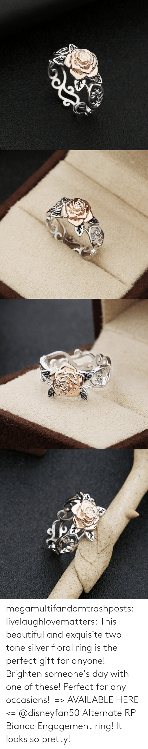 beautiful: megamultifandomtrashposts:  livelaughlovematters: This beautiful and exquisite two tone silver floral ring is the perfect gift for anyone! Brighten someone's day with one of these! Perfect for any occasions!  => AVAILABLE HERE <=    @disneyfan50 Alternate RP Bianca Engagement ring! It looks so pretty!