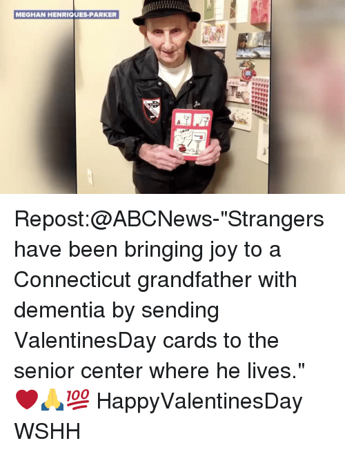 """Grandfathered: MEGHAN HENRIQUES PARKER Repost:@ABCNews-""""Strangers have been bringing joy to a Connecticut grandfather with dementia by sending ValentinesDay cards to the senior center where he lives."""" ❤️🙏💯 HappyValentinesDay WSHH"""