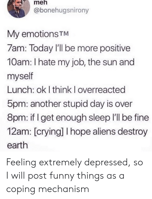 8Pm: meh  @bonehugsnirony  My emotions TM  7am: Today I'll be more positive  10am: I hate my job, the sun and  myself  Lunch: ok I think I overreacted  5pm: another stupid day is over  8pm: if I get enough sleep I'll be fine  12am: [crying] I hope aliens destroy  earth Feeling extremely depressed, so I will post funny things as a coping mechanism