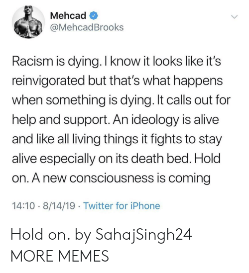 living things: Mehcad  @MehcadBrooks  Racism is dying. I know it looks like it's  reinvigorated but that's what happens  when something is dying. It calls out for  help and support. An ideology is alive  and like all living things it fights to stay  alive especially on its death bed. Hold  on. A new consciousness is coming  14:10 8/14/19 Twitter for iPhone Hold on. by SahajSingh24 MORE MEMES