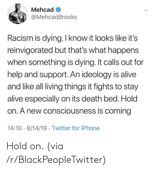 living things: Mehcad  @MehcadBrooks  Racism is dying. I know it looks like it's  reinvigorated but that's what happens  when something is dying. It calls out for  help and support. An ideology is alive  and like all living things it fights to stay  alive especially on its death bed. Hold  on. A new consciousness is coming  14:10 8/14/19 Twitter for iPhone Hold on. (via /r/BlackPeopleTwitter)