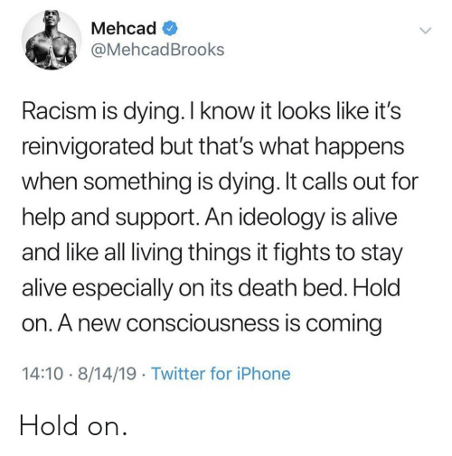 living things: Mehcad  @MehcadBrooks  Racism is dying. I know it looks like it's  reinvigorated but that's what happens  when something is dying. It calls out for  help and support. An ideology is alive  and like all living things it fights to stay  alive especially on its death bed. Hold  on. A new consciousness is coming  14:10 8/14/19 Twitter for iPhone Hold on.
