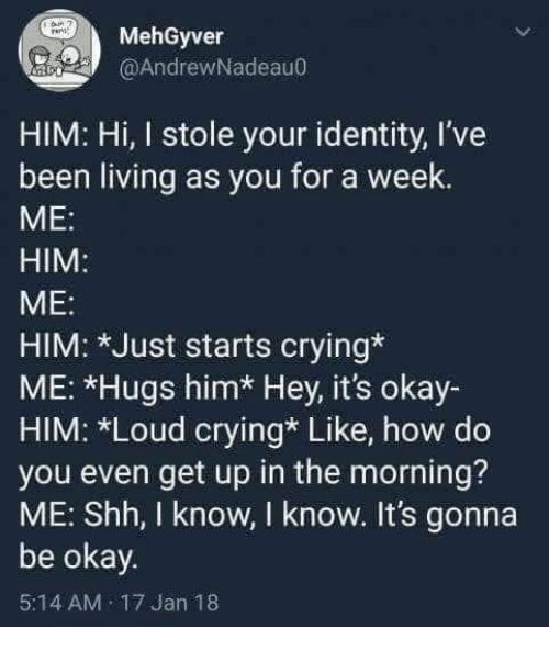 Crying, Okay, and Living: MehGyver  @AndrewNadeau0  HIM: Hi, I stole your identity, l've  been living as you for a week  ME:  HIM  ME:  HIM: *Just starts crying*  ME: *Hugs him* Hey, it's okay-  HIM: *Loud crying* Like, how do  you even get up in the morning?  ME: Shh, I know, I know. It's gonna  be okay.  5:14 AM 17 Jan 18