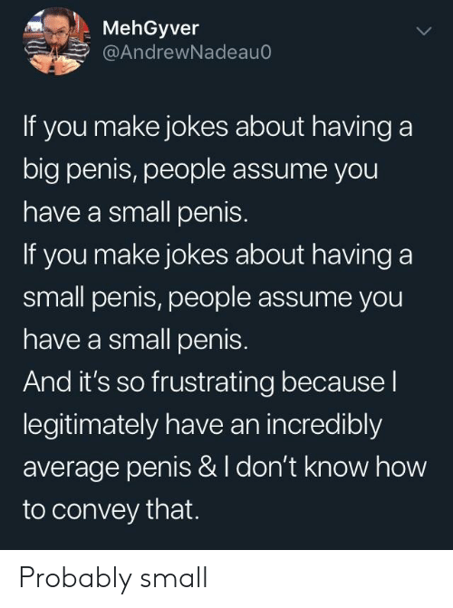 How To, Jokes, and Penis: MehGyver  @AndrewNadeauo  If you make jokes about having a  big penis, people assume you  have a small penis.  If you make jokes about having a  small penis, people assume you  have a small penis.  And it's so frustrating because l  legitimately have an incredibly  average penis & I don't know how  to convey that. Probably small