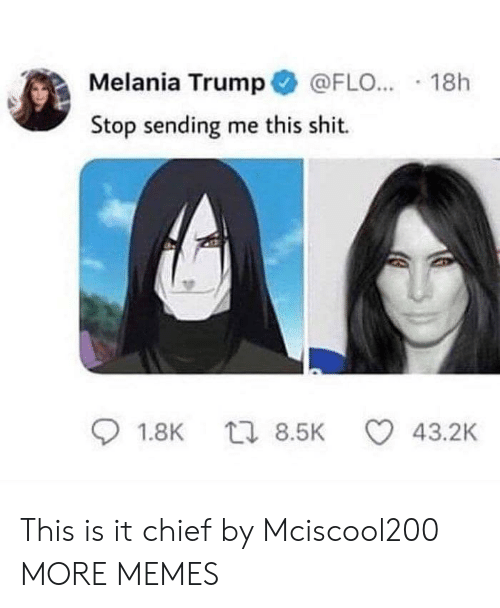 Flo: Melania Trump @FLO...-18h  Stop sending me this shit.  01.8K  8.5K  43.2K This is it chief by Mciscool200 MORE MEMES