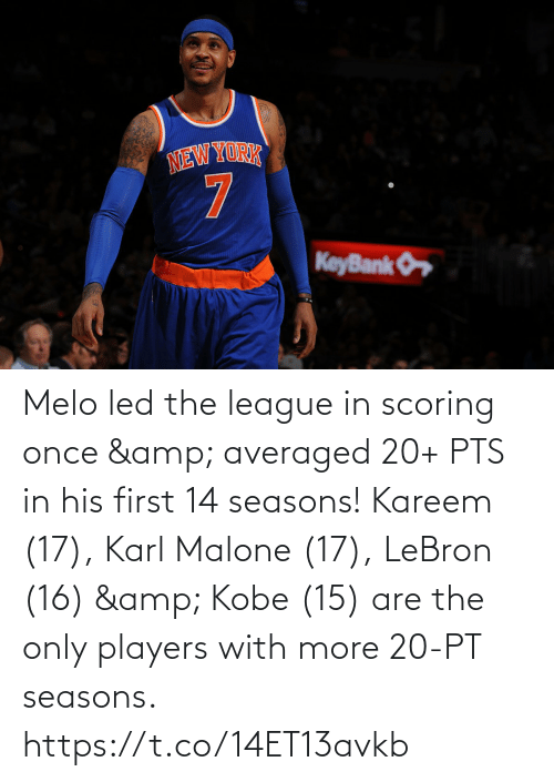 The League: Melo led the league in scoring once & averaged 20+ PTS in his first 14 seasons!   Kareem (17), Karl Malone (17), LeBron (16) & Kobe (15) are the only players with more 20-PT seasons. https://t.co/14ET13avkb