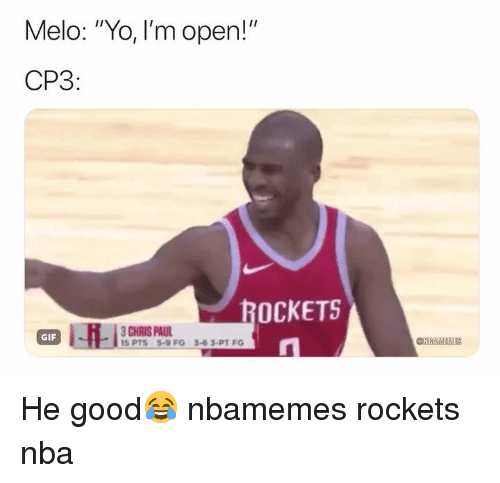 "Chris Paul: Melo: ""Yo, I'm open!""  CP3  OCKETS  CHRIS PAUL  GIF  @AIMTİEM He good😂 nbamemes rockets nba"